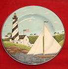 Sakura Coastal Breeze salad plate Warren Kimble Lighthouse Sailboat Flag Cottage