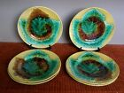 Antique 19th Century Majolica Set of 6 Unmarked Maple Leaf Plates
