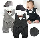 Baby Boy Wedding Formal Tuxedo Suit Romper Clothes Outfit+HAT Set 0 18M NEWBORN