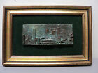 Unusual Vintage Framed Italian Bronze Relief Architectural Sculpture Plaque