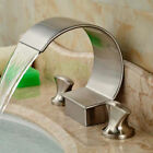 New LED Waterfall Basin Faucet Dual Handle Sink Mixer Widespread Spout Mixer Tap