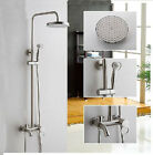 NEW Luxury Brushed Nickel Brass Rain Shower Faucet Tub Mixer Tap Shower Column