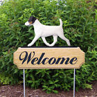 Jack Russell Terrier Dog Breed Oak Wood Welcome Outdoor Yard Sign Tri