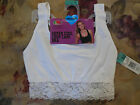 Fruit of the Loom Fresh Collection Crop Cami Bra White Lace Trim NWT