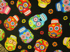 SKULLS DAY OF THE DEAD BLACK MOTORCYCLES ROCK COTTON FABRIC BTHY