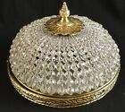 Antique french empire style gold bronze ceiling light Bronze & Crystal balls