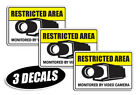 3 PACK - RESTRICTED AREA DECALS sticker decal video warning label door wall