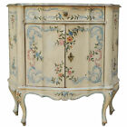 Vtg Italian Venetian Distress Painted Faux Marble Top Demilune Console Cabinet