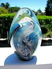 Lg Sparkling Iridescent EICKHOLT Signed PAPERWEIGHT: Blues, Gray, 4 3/4
