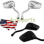 CUSTOM CHROME/BLACK SKELETON SKULL HAND CLAW MOTORCYCLE REARVIEW MIRRORS 8MM10MM