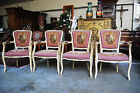 French Country Needlepoint Arm Chairs Matching Set of 4 Post 1950 France