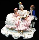 Dresden Lace Germany Figural Group Woman Reading to Two Children