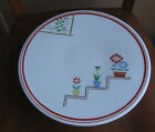 VTG Kitchen ART DECO Primary Colors Floral PLATE Lazy Susan Cake Stand JAPAN