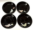 4 Fitz & Floyd Black Midnight Poppy Saucers Butterflies