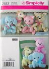 SIMPLICITY SEWING PATTERN 2613 Stuffed Animals Elephant Giraffe Pig Cat