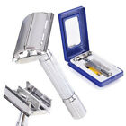 Mens Razor With Case Mirror Brush + Blade Classic Double Edge Shave Safety Blade
