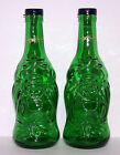 LUCKY BUDDHA SALT AND PEPPER SHAKERS 1 pair of bottles and caps GREEN GLASS