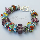 Summer Into Autumn European Charm Bracelet With Artisan Blown Murano Glass Beads