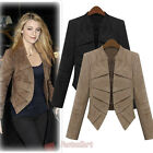 Fall Suede Leather Blazer Jackets For Women Long Sleeve Short Type SV000743