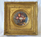 Superb 18th c. French Hand Painted Cabinet Plate Floral Scene, Framed