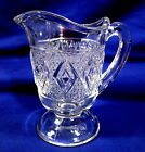 EAPG Footed Creamer Clear Glass Diamond Pattern Early American Pressed Glass