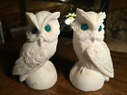 Lot of 2 Sandstone/Alabaster White Owls with Green Eyes