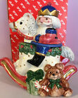Fitz & Floyd 1992 Christmas Nutcracker Sweets Rocking Horse Candy Jar with Lid