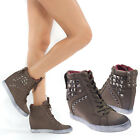 New Brown High Top Lace Up Stud Med Heel Hidden Wedge Boot Fashion Sneaker 6