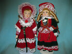 SMALL LOT  HOLIDAY PORCELAIN VELVETEEN DRESSED BONNET DOLLS WITH STANDS