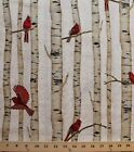 Cotton Cardinals Birch Trees Natural Cotton Fabric Print by the Yard D776.34