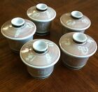 SET OF (5) Ea. JAPANESE ANTIQUE TEACUPS ,With The Lids in GOLD&RED Signed JAPAN