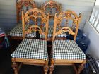 Antique Set Of 4 Oak Chairs Kitchen Or Dining Room Early 1900's Pedestal Legs