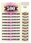 BOSNIA AND HERZOGOVINA 500 DINARA 1992 P-14 UNC LOT 10 PCS