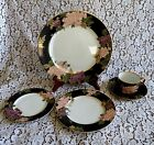 FITZ & FLOYD Cloisonne Peony BLACK 5 Piece PLACE SETTING~7 Sets Avail JAPAN FF75