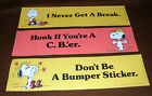 2-1958 & 1-1950 Peanuts Snoopy & Charlie Brown Bumper Stickers NEVER USED