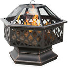 UniFlame Hex Shaped Outdoor Fire Bowl with Lattice Oil Rubbed Bronze Steel