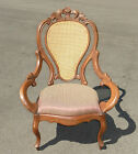 ONE of a KIND ~ Gorgeous VINTAGE VICTORIAN CANE BACK CARVED WALNUT ACCENT CHAIR