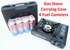 Portable Butane Gas Stove Burner w/ Hard Carrying Case & 4 Butane Fuel Canisters