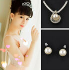 Polished Retro Bling Rhinestone Big White Pearl Ear Studs & Necklace Pendant Set