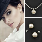 Lady Jewelry Full Round Rhinestone Big Pearl Ear Studs & Necklace Pendant Set