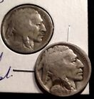 1916-D and 1916-S Indian Head BUFFALO NICKELs slightly treated