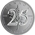 NEW-1 oz 2013 Canadian Maple Leaf 25th Anniversary .9999 Silver Coin