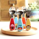 Baby Stainless Spoon and Fork Feeding Set Cute Zoo Toddler Weaning First Utensil