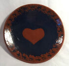 NED FOLTZ POTTERY REDWARE PLATE DISH SHALLOW BOWL 1982 RED HEART PA ART 7 5/8