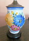 Vintage Hand Painted Terra Cotta Italian Italy Ginger Jar Lamp Brass Top Cottage