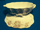 JHW Semi-Porcelain Brown Transferware Platter and Covered Serving Dish