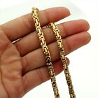 5mm 20 inch Gold Tone Byzantine Box Stainless Steel Necklace Boys Mens Chain