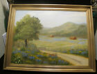 Large Vintage Oil Painting-Texas Bluebonnets-Country Landscape-Great Cond.