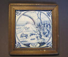 Antique Delft Dutch Makkum Tichelaars Tile Porcelain Ceramic Genesis Bible Verse