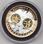 ITALY MEDAL FIRST EURO PROOF COIN ISSUE 2003 SILVER GOLD. UNC CAPSULED.